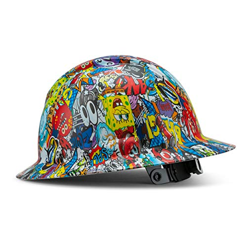 Full Brim Customized Ridgeline ABS Hard Hat, Custom Cartoon Calamity Design Safety Helmet, With 6 Point Suspension, Flag Decal Included, By Acerpal