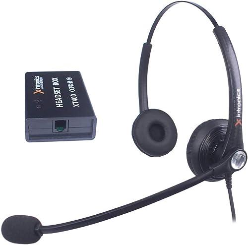 Xintronics Micro-Casque Téléphone Fixe Filaire Dual Universel Compatible avec Plupart Téléphones de Bureau, Oreillett...