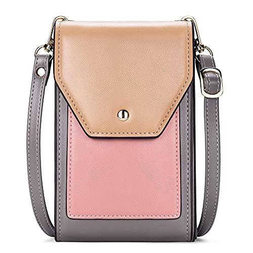 CLUCI Umhängetasche Damen Handy Crossbody Bag mit Kartenfächer Kleine Lederschulter Geldbörse Fashion Travel Designer Grau mit Rosa