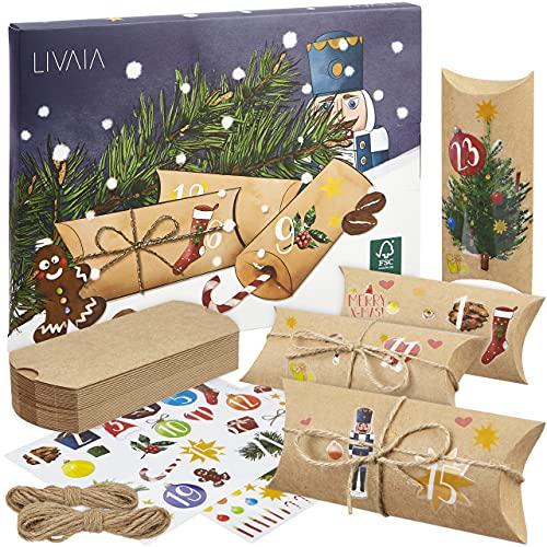 Adventskalender zum Befüllen: Schöner DIY Adventskalender zum Selbstbefüllen mit Kartons, Stickern und Juteschnur – 2021 Adventskalender zum Basteln – DIY Adventskalender Selber Befüllen LIVAIA