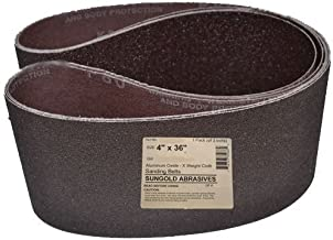 Sungold Abrasives 35066 4-Inch by 36-Inch 80 Grit Sanding Belts Premium Industrial X-Weight Aluminum Oxide, by Sungold Abrasives