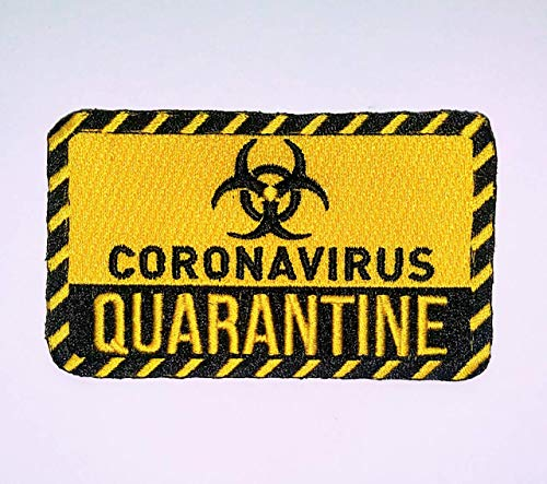 CoronaVirus Quarantine IRON ON EMBROIDERED PATCH PATCHES …. SIZE 3.75 x 2.25 INCHES …. EMBROIdery cov-id 19 warning pandemic lockdown