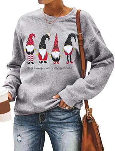 Dresswel Damen Just Hangin with My Gnomies Lustig Christmas Sweatshirt Dwarf Gift Weihnachten Pullover Langarm T-Shirt