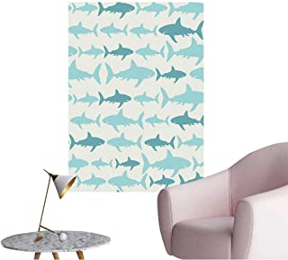 Wall Decals Shark Seamless Pattern Vector for Wallpaper,Pattern Fills,Web Page Background Environmental Protection Vinyl,28