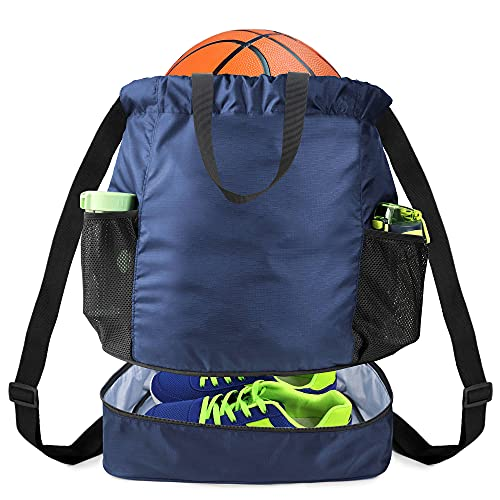 BeeGreen X-Large Blue Dry Wet Basketball Drawstring Backpack with Ball Shoe Compartment, Youth Soccer Bag with 2 Mesh Water Bottle Pocket, Heavy Duty for Sport Workout Gym Swim Beach