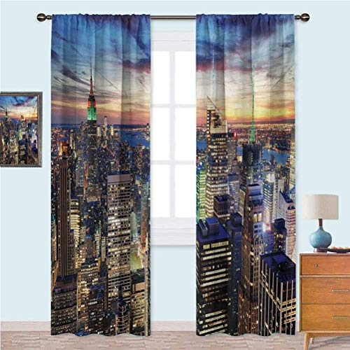 Curtains for Living Room Skyline of NYC with Urban Skyscrapers at Sunset Dawn Streets USA Architecture Noise Reducing Curtain 63 Inches Long Orange Blue