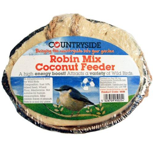 Brand Choice Countryside Mangeoire fabriquée en noix de coco spécial rouges-gorges