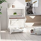 roomfitters White Pet Feeding Station with Double Pull Out Dog Bowl, Pet Food Cabinet, Pet Toy Storage...