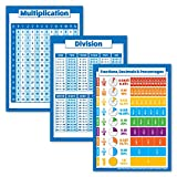 3 Pack - Multiplication Table Poster + Division + Fractions, Decimals & Percentages Chart (Laminated, 18' x 24')