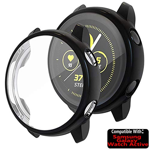 TASLAR Soft TPU Bumper Full Coverage Screen Guard Protector Cover Case Compatible with Samsung Galaxy Watch Active 40mm (Black)