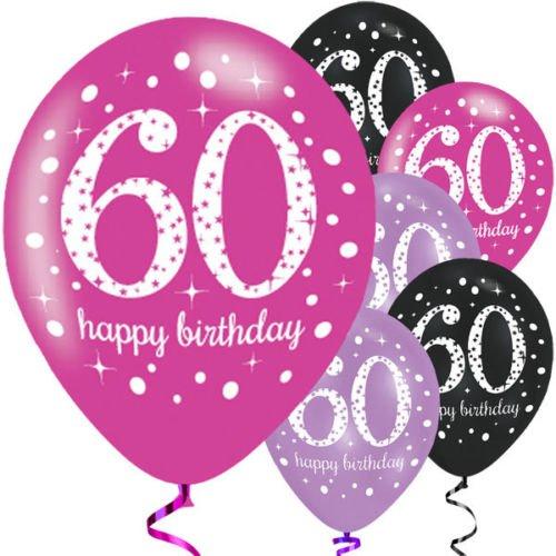 Feste Feiern Luftballon Deko 60. Geburtstag   6 Teile Zahlenballon Ballon Pink Schwarz Lila metallic Helium Party Set Happy Birthday 60 Jubiläum