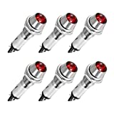uxcell Indicator Light DC 12V, Red, Metal Shell Panel Mount 5/16' 8mm 6Pcs