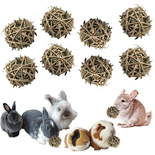 8 All Natural Orchard Grass Chew Balls for Bunny Rabbits, Chinchillas, Guinea Pigs- No Dyes, Glues or Nasty Ingredients.