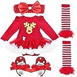 Freebily Conjunto de Navidad para Bebé Niña Recién Nacido Vestido de Princesa Infantil Estilo de Pelele Fiesta Invierno Otoño Reno 0-3 Meses