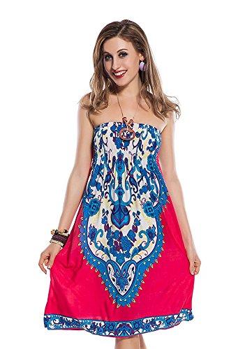 Dames strandjurk bloemen roze tribal badmode Parero mini-jurk bikini bandeau zomerjurk maat S/M/L