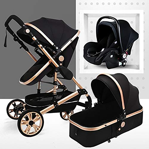 TXTC 3 In 1 Stroller Carriage Foldable Luxury Baby Stroller Anti-Shock Springs High View Pram Baby Stroller With Baby Basket (Color : Golden tube-Black)