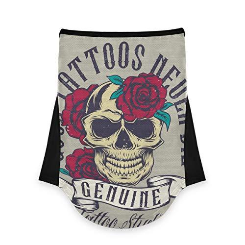 Pañuelo facial para cuello, bandana, pasamontañas, cráneo, bucles para polvo, viento, motocicleta, patrón de rosas 2010166