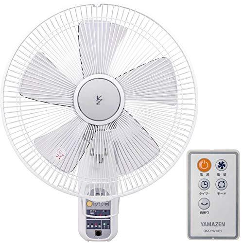 [山善] 扇風機 35cm 壁掛 マイコンスイッチ 風量4段階調節 入切タイマー機能 換気 リモコン付き ホワイト YWX-K355(W) [メーカー保証1年]