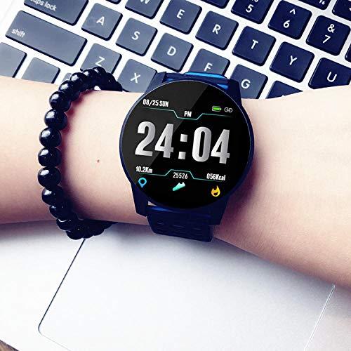 Acero Cuero Pulsera Hombre- Reloj Inteligente Hombre Pantalla Táctil Impermeable Pulsera Deportiva Mujer Multifunción, Negro Azul
