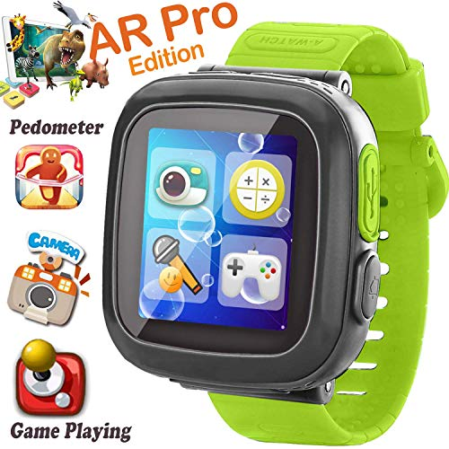 Kids Smart Watch, [AR Pro Edition] Game Smartwatch for Ages 3-12 Girls Boys Toddlers Digital Wristbands, 1.5'' Screen Camera Pedometer Alarm Clock Timer Learning Toys Easter Birthday Gifts (Green)