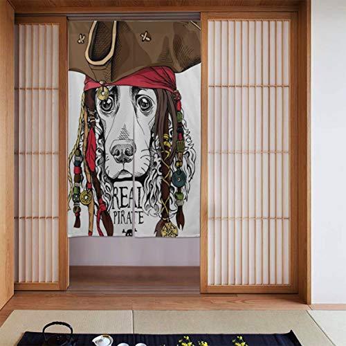 N A Noren Doorway Curtain Cute Pirate Dog Puppy Skull Japanese Noren Doorway Curtain Long Tapestry Door Curtains Decor Dividers for Home Kitchen Bedroom Bathroom Living Room Office