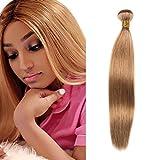 Echthaar Extensions Honey Blond #27 1 Bundles Brasilianisches Haar Straight 100g Sew In Weave Haar Tressen Schwarz 14 Inch