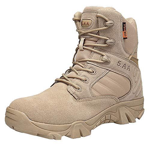 Venta. Hombres Militar ejército táctico deportes de Plein Air Camping senderismo trabajo combate de cordones transpirable alto alto Zipper Desert piel zapatos botas, 47, caqui, 1