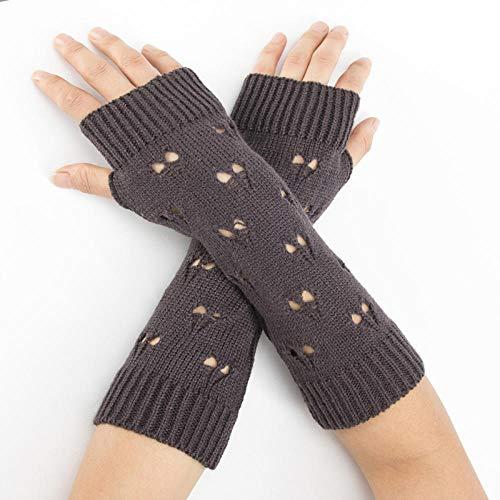 Winter Frauen Lange warme Ärmel Fäustlinge Weibliches Herz Stretch Stricken Halbfinger Fingerlose Armstulpen Handschuhe-4