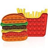 sgoseye 2 Stück Pop Bubble Fidget It Toys Set Sensorisches Squeeze Spielzeug Silikon Autismus Spezielle Bedürfnisse Stress Reliever Angst Relief Spiel für Kinder Erwachsene (Burger + Pommes Frites)