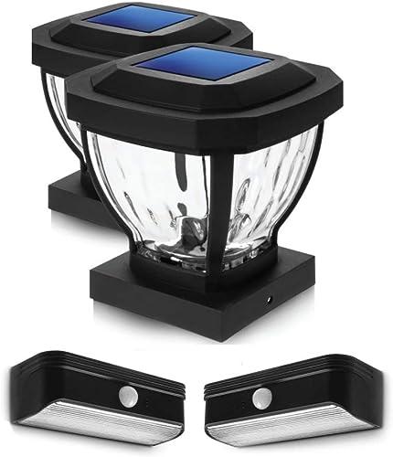 discount Home Zone Security 2021 Solar Post Cap and Motion new arrival Sensor Step Light Bundle Kit outlet sale