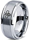 Zealot Jewelry Tungsten Bee Flying Insect Bug Wasps Beeswax Band Ring 8mm Men Women Comfort Fit Gray Step Bevel Edge Brushed Polished Size 10