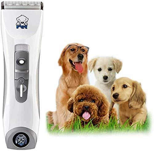 Pelo tijeras de corte de la herramienta Pet Grooming Clippers, mascotas Quiet profesional de bajo ruido recargable de la preparación del perro Clippers inalámbrico Pet Trimmer de pelo, pantalla LED, l