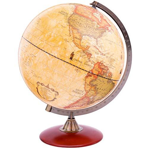 Exerz 30CM Antiker Globus mit Holzfuß - für Kinder Büro Deko Inneneinrichtung - Englischer Sprache - Durchmesser 30 CM (30cm Antiker Globus)