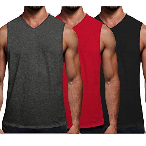 COOFANDY Men's 3 Pack Workout Tank Top V Neck Muscle Shirt Gym Bodybuilding Sleeveless T Shirts (Dark Grey/Red/Black, Large)