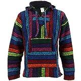 Siesta Mexican Baja Jerga Pull hippie à capuche Arc-en-ciel - Multicolore - Medium