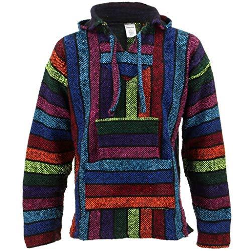 Siesta Mexikanischer Baja Jerga Kapuzenpullover Hippie Pullover – Regenbogen Gr. Medium, regenbogenfarben
