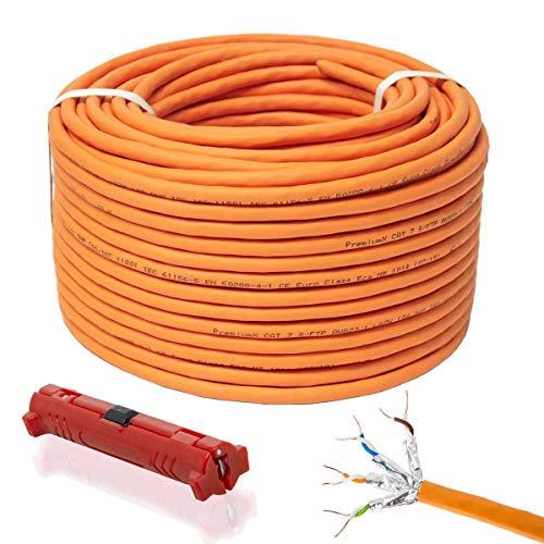 PremiumX 50m CAT 7 Netzwerkkabel Simplex LAN-Kabel Ethernet Datenkabel S/FTP PiMF Eca Cat7 Verlegekabel Installationskabel Cat.7 Abisolierer