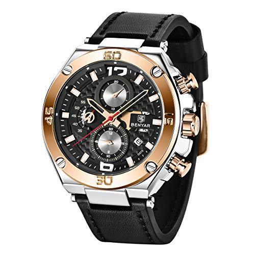 BENYAR Herren Uhr Analogue Quartz Chronograph Uhr Männer Business Military Sport Armbanduhr mit Leder Armband 30m Wasserdicht Elegant Geschenk für männer (Silber)