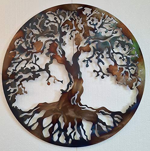Tree Of Life Metal Art, Large Wall Decor, 36 inches, Heat Colored