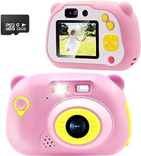 Sonkir 32GB Recargable Cámara Digital cámara Frontal portátil de 15.0 MP y cámara/videocámara Regalo para niños y niñas (Rosa)