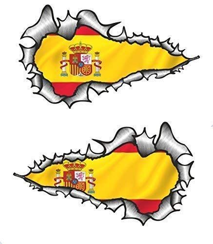 Sticar-It Ltd Largo Par Rasgado Metal Español España País Nacional Bandera de...