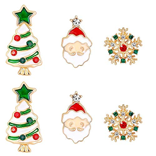 BlueXP 3 Pares de Pendientes de Navidad Estilo de Navidad Pendientes para Mujer Copo de Nieve Papá Noel para Arbol de Navidad para Niñas Niños Mujeres Día de Navidad Fiesta Decoración de Partido