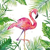 Fête, anniversaire - Serviettes jetables - motif: 'Flamant rose' - style: été tropical - (2 séries de 20 pièces chacune) - 3 couches - 33x33cm