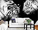 Benutzerdefinierte Tapete Schwarz-Weiß-Tiger-TV-Hintergrundwände Tier Modernes minimalistisches Wohnzimmer Schlafzi Tapete wandpapier fototapete 3d effekt tapeten Wohnzimmer Schlafzimmer-430cm×300cm