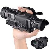 Monocular digital de visión nocturna por infrarrojos de 5 x 40 mm con pantalla LCD TFT de 1,5 pulgadas y función de cámara y videocámara para tomar fotos y vídeos hasta 350 m/1150 pies de distancia de detección, viene con una batería recargable