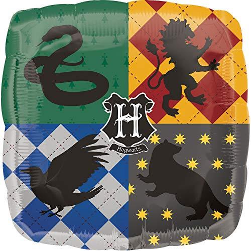 Amscan 3713601 Harry Potter quadratischer Folienballon mit Hogwarts-Logo-Design – 1 Stück, Farbe