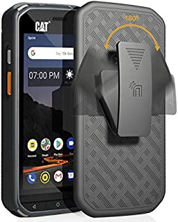 CAT S48c Case with Clip, Nakedcellphone [Black Tread] Kickstand Cover with [Rotating/Ratchet] Belt Hip Holster Holder Combo for Caterpillar CAT S48c Phone (Verizon, Sprint, Unlocked)