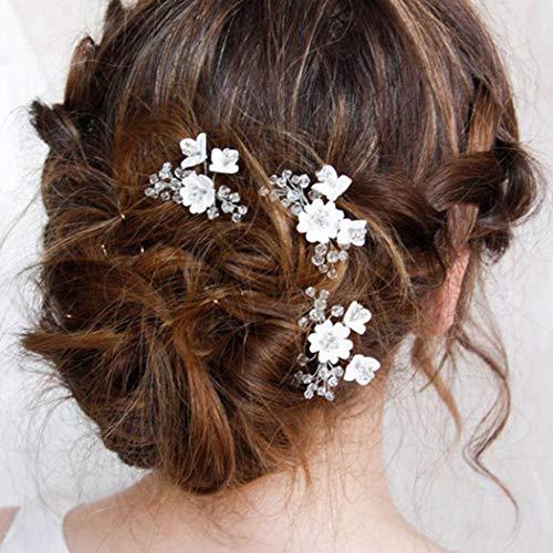 Simsly Braut-Haarnadeln, Blume, Hochzeit, Silber, Haarschmuck, Perlen, für Frauen und Mädchen (3 Stück)
