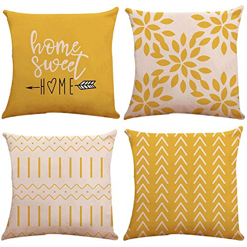 YCOLL Pillow Covers 20'x20' Modern Sofa Throw Pillow Cover, Decorative Outdoor Linen Fabric Pillow Case for Couch Bed Car (Yellow, 20x20,Set of 4)