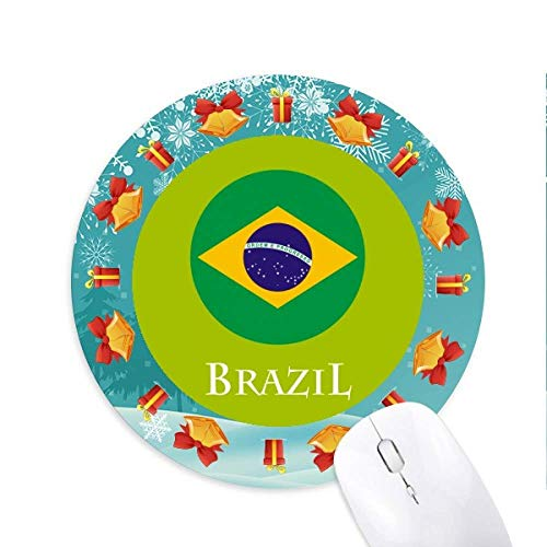 Brazil Football Carnival Flag Mousepad Round Rubber Mouse Pad Weihnachtsgeschenk